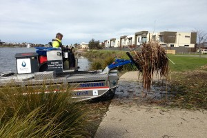 Mobitrac aquatic weed control manoeuvres from land to water